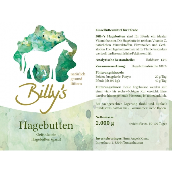 Natural Horse Care Billys Hagebutten ganz 2kg